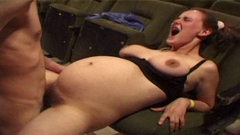 Hairy pregnant Monica in the sexcinema
