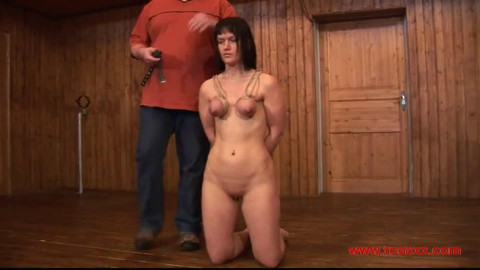 Tight bondage, strappado, spanking and torture for naked bitch