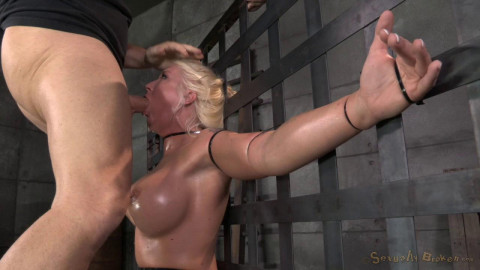 Big titted blonde Leya Falcon ziptied onto a sybian