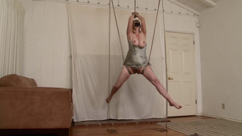 HD Bdsm Sex Videos Barefoot Suspension Squirming in Silky Slip