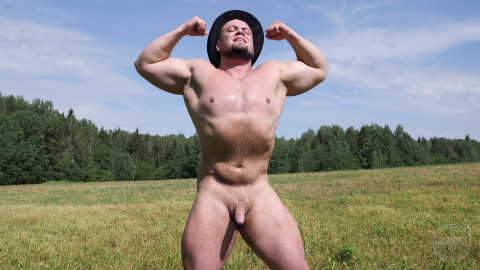 Oleg - Russian Strongman Jerks Off in the Country 1080p