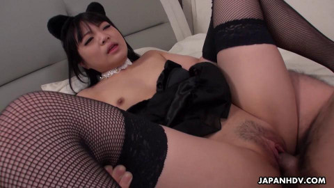 Bored pet rinako is pleasured with toys and penis