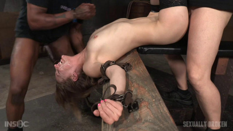 Lean all natural Mona Wales bound in inverted tie dicked down 3 cocks! (2016)