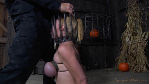 Big breasted blonde Darling trained brutal deepthroat headcage bent strappado fucked! (2014)