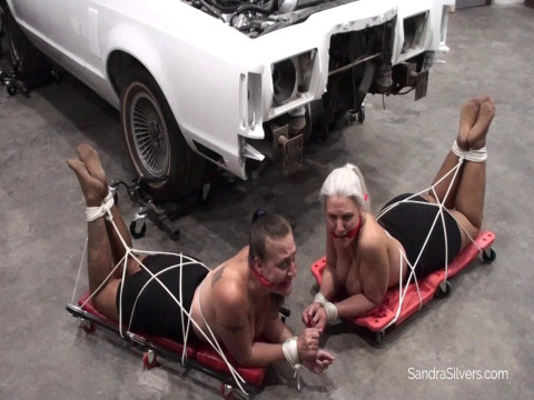 Grease-Monkey Garage Gals Get Gagged and Taken!