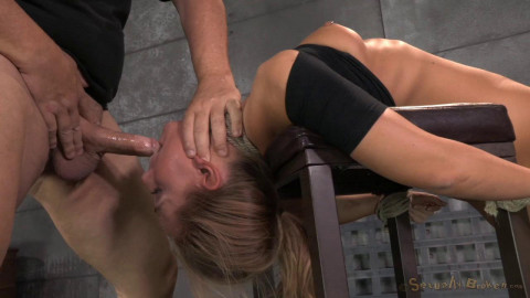 Carter Cruise tied up and ragdoll fucked from both ends messy epic deepthroat