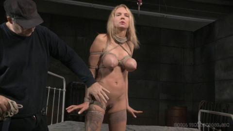 Big breasted blonde Rain DeGrey tightly tied
