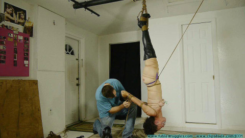 Hanging Upside Down Bound with Fishing Line - BDSM,Humiliation,Torture HD 720p