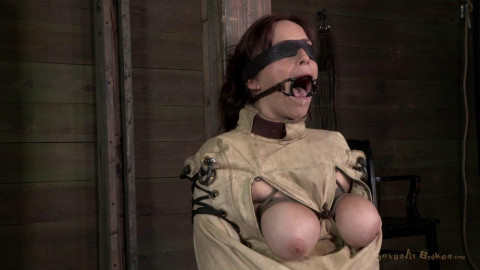 Ring gagged, blindfolded, Straight Jacketed - HD 720p