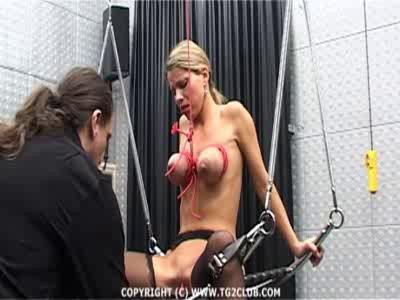 All this while being whipped on her ass, tits and even her pussy