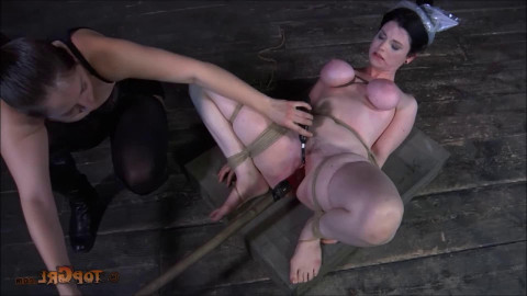 Hard tying, hog tie, spanking and suffering for nude hotty part 2