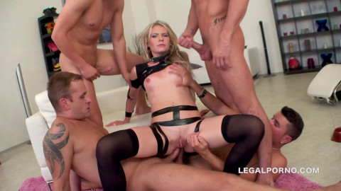 Blond bitch in brutal orgy with many cocks