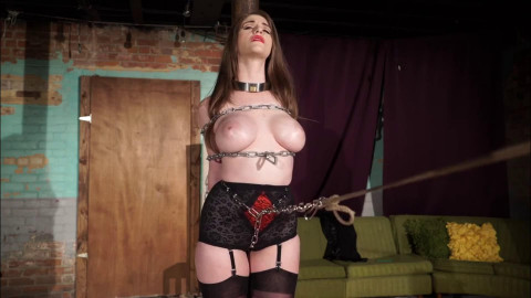 Super bondage, domination and torment for hot girl with naked boobs