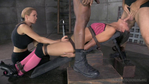 RTB - Girl fastened, vibrated to big o and deepthroated by BBC!