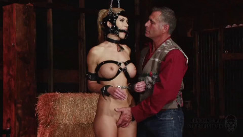 Super restraint bondage, domination and spanking for hot stripped blond HD 1080p