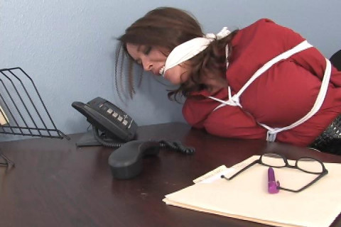 Rachel Steele-Busty D.A. tied up & bent over her desk