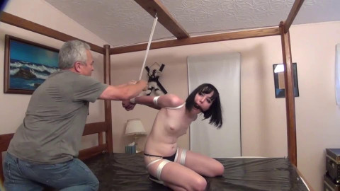 Tight tying, spanking and wrist and ankle bondage for hot undressed dark brown HD 1080p