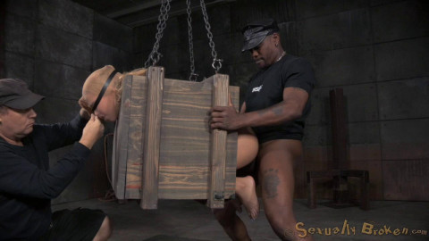 Little Alina West blindfolded bound in a box fucked hard both ends by huge cock! (2015)