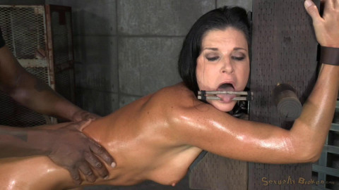 Stunning MILF belted down to a post and bred, 10 inch BBC and creampies!