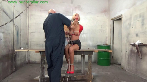 HunterSlair - Amanda Foxx - Busty blond Milf hogtied & with her tits brutally bound