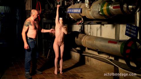 Kate handcuffed tiptoeing