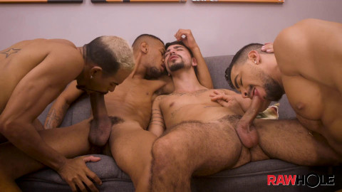Horsehung Bareback Orgy - Bruno Paz, Rico Marlon and Ronny Aislan