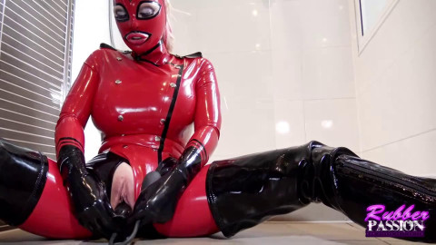Super bondage and domination for very horny blonde in latex