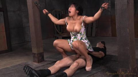 SexuallyBroken Big breasted Mia Li bent over...
