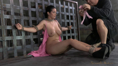 Newbie Katrina Jade with natural DDD breasts on her 1st bondage shoot is facefucked epic deepthroat!
