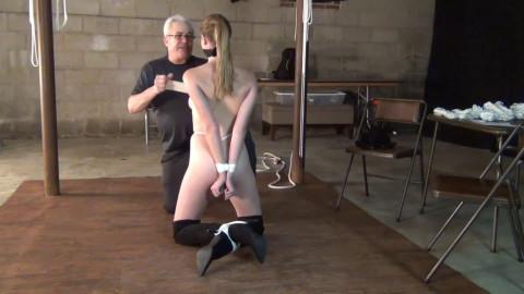 Tight restraint bondage and domination for exposed slavegirl