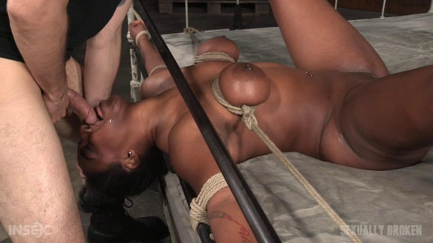 Curvy Black Girl bound down in rope & roughly fucked