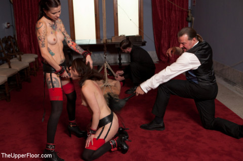 beautiful SM slaves perform manual labor and are fucked in bondage