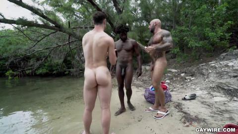 Nude Beach Threesome - Devin Trez, Michael Boston, Jason Collins