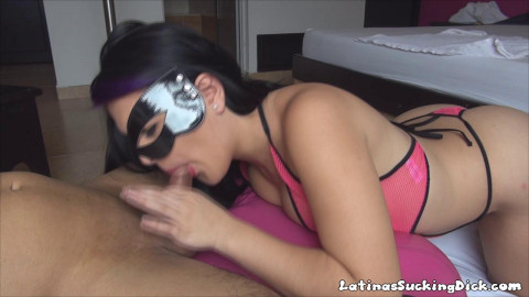 big ass beauty in pink sucking cock