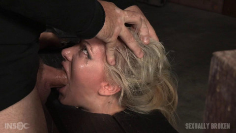Eager Jeanie Marie blindfolded, bound on sybian and facefucked