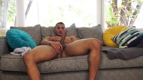Black stud Dominic Santos self sucks and cum eats to gay porn stardom
