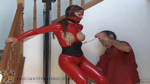 Bondage, strappado and punishment for sexy angel in latex part 2