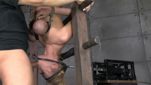 Blond Bimbo Inverted With Automatic Cocksucking Machine! Brutal Deepthroat!