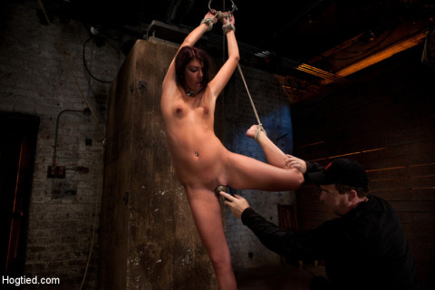 19yr with long sexy legs is bound helpless, & uncomfortable. Nipple torture, flogging & made to cum!