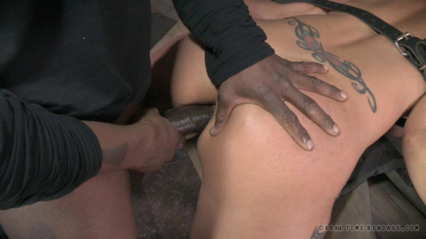 Syren De Mer tightly tied and anally pounded.