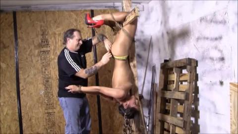 Tight restraint bondage, hog tie, suffering and strappado for lewd angel HD 1080p
