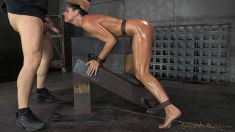 Fit MILF shackled down and used hard by two cocks at once, massive orgasms!!