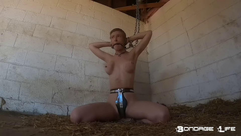 Tight tying, domination and predicament for bare gal HD 1080p