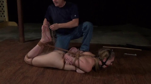 Tight tying, spanking and wrist and ankle bondage for hot bare blond Full HD 1080p