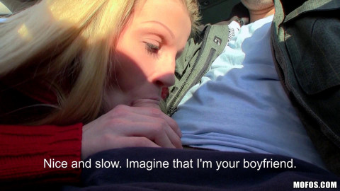 Blonde with Natural Tits Sucked Guy Off In His Car