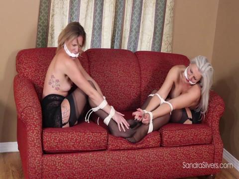 Irving Klaw Style Bondage & Struggling By 2 Topless, Girdled