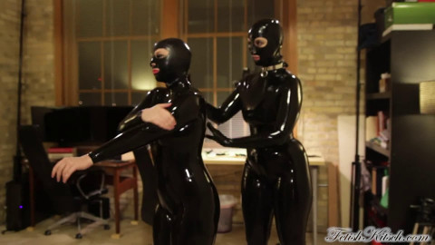 Super bondage and domination for two beautiful girls in latex FullHD