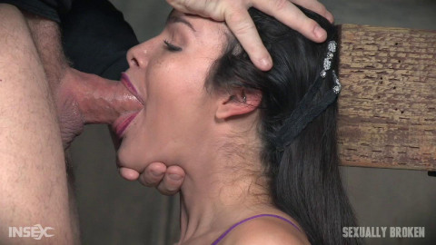 The Amazing Eden Sin Bound on a Sybian, Deepthroated and Throat Boarded! Amazing Skills!