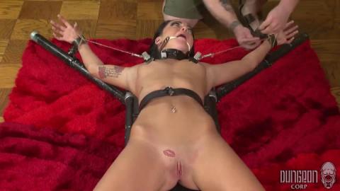 Hard restraint bondage, spanking and punishment for stripped dark brown