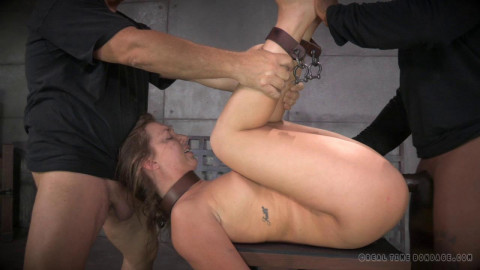 All natural redhead Maddy O'Reilly shackled down, vibrated